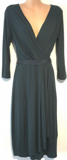 EAST DARK GREEN PLEATED CROSS OVER DRESS NEW SIZE 8